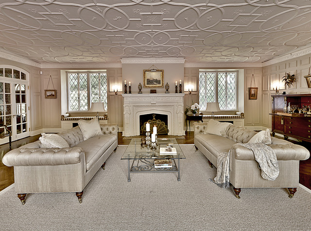 Chesterfield Sofa Living Room Traditional with Area Rug Casement Windows