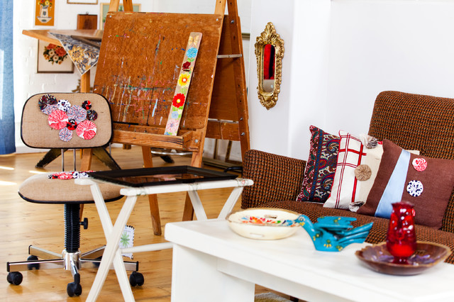 Childrens Easel Living Room Eclectic with Artist Studios Decorative Pillows