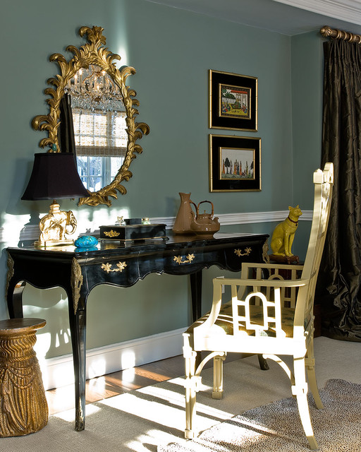 Chinoiserie Chic Home Office Transitional with Baseboards Chair Rail Chinoiserie