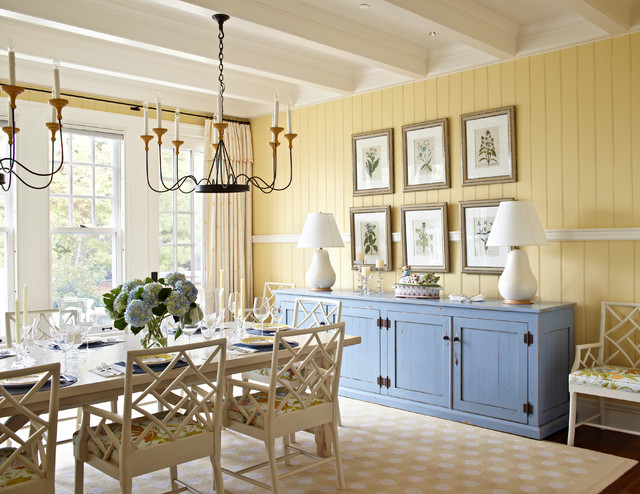 Chippendale Chairs Dining Room Beach with Beige Rug Blue Cabinets