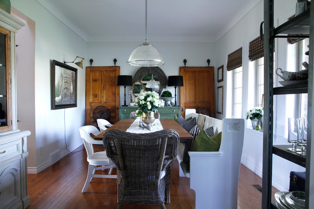 church pews for sale Dining Room Eclectic with accent lighting black and