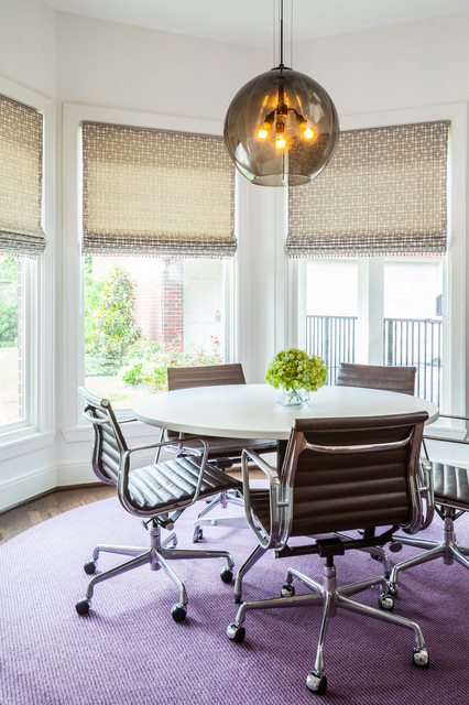 circular rugs Dining Room Contemporary with area rug bay window