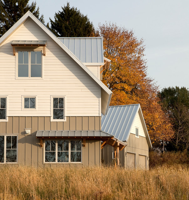 Clapboard Siding Exterior Farmhouse with Brightbuilt High Performance Net Zero