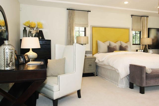 Clark and Kensington Paint Bedroom Contemporary with Beige Curtains Beige Roman