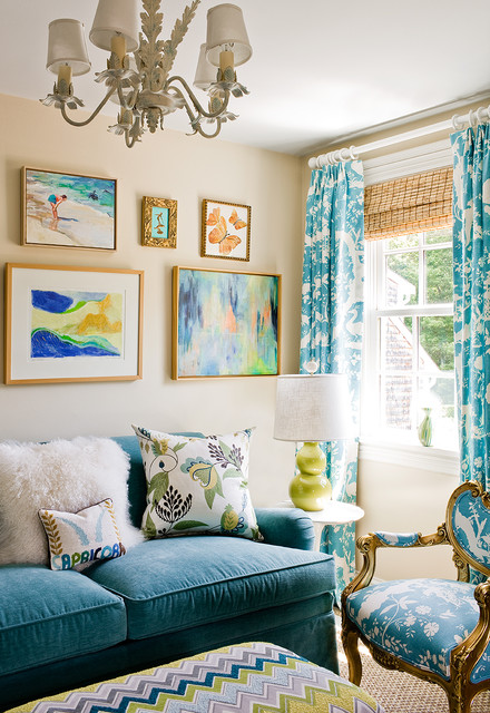 Clark and Kensington Paint Family Room Transitional with Artwork Blue Couch Curtains