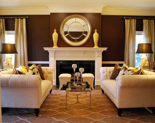 Clark and Kensington Paint Living Room Traditional with Asian Lighting Chesterfield Sofas