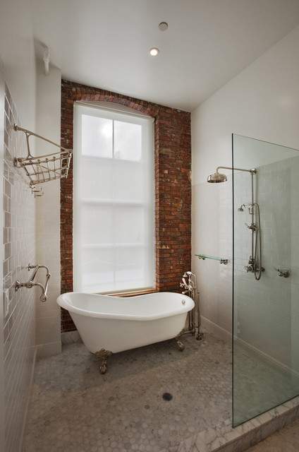 claw foot tub Bathroom Industrial with brick enclosure freestanding glass