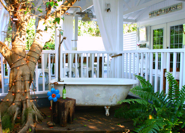 claw foot tub Deck Eclectic with curtain panels garden outdoor