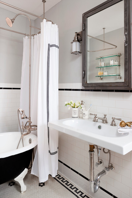 Clawfoot Bathtub Bathroom Eclectic with Black and White Tile
