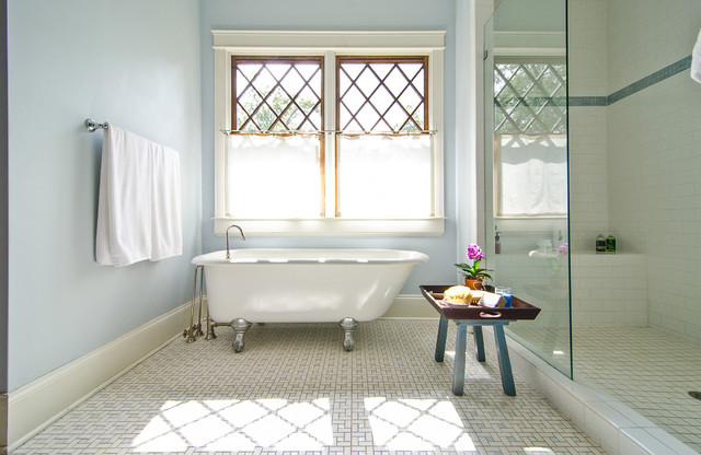 Clawfoot Bathtub Bathroom Traditional with Baseboard Built in Shower Bench