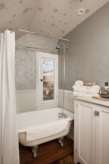 clawfoot tub shower Bathroom Traditional with antique bathroom storage beadboard