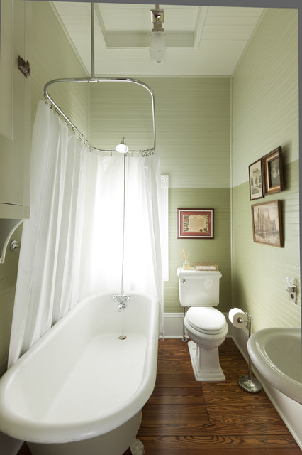 Clawfoot Tub Shower Bathroom Victorian with Antique Baseboards Cabinetry Carpet