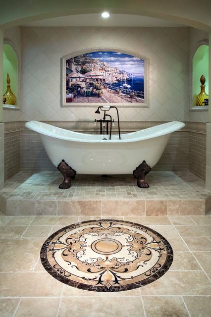 Clawfoot Tubs Bathroom Traditional with Arch Wall Nook Beige