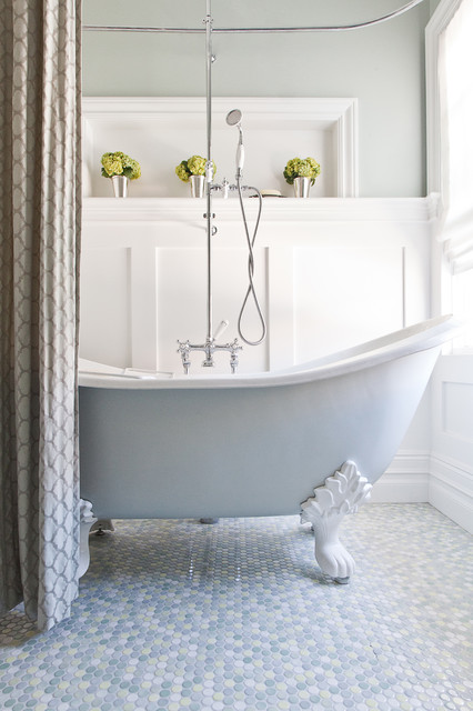 clawfoot tubs Bathroom Traditional with baseboards board and batten