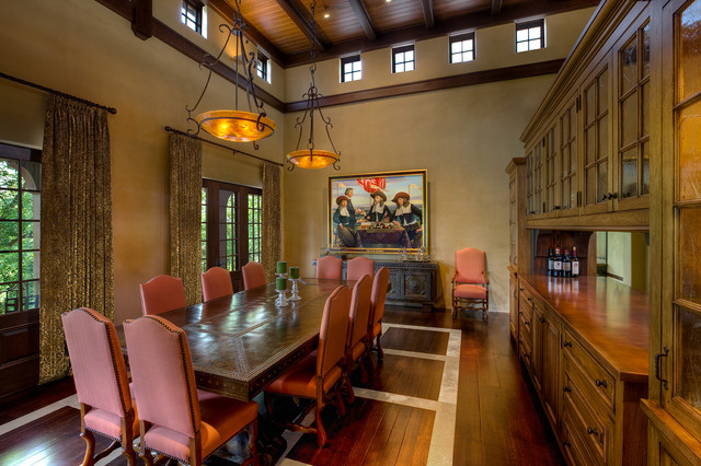 Clerestory Windows Dining Room Mediterranean with Artwork Beams Buffett Ceiling