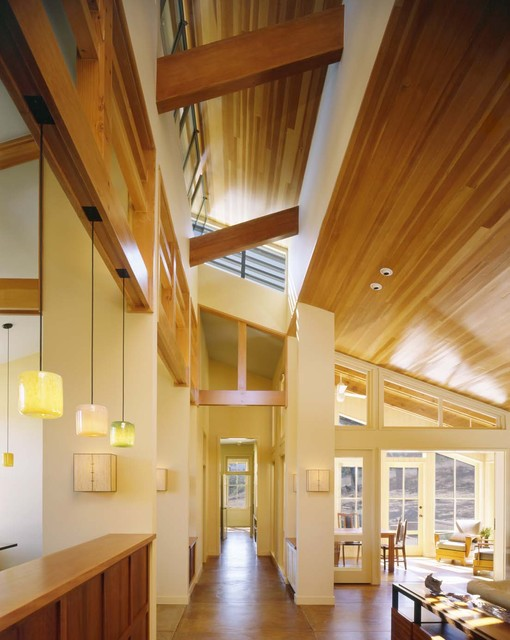Clerestory Windows Hall Contemporary with Axial View Built In