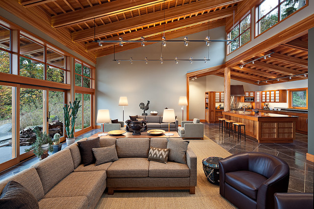 Clerestory Windows Living Room Contemporary with Accent Table Beams Clerestory