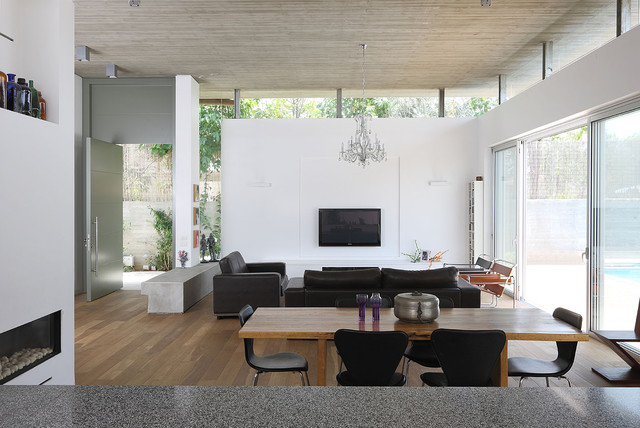 clerestory windows Living Room Modern with breuer dining room granite