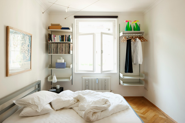 Closet Systems Ikea Bedroom Contemporary with Dieter Rams Floating Shelves