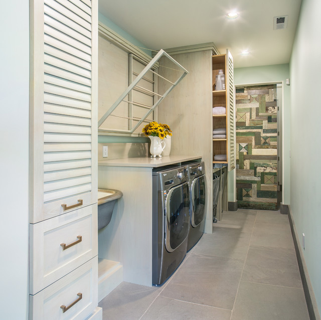 clothes hanger rack Laundry Room Contemporary with Caesarstone hanging dry rack