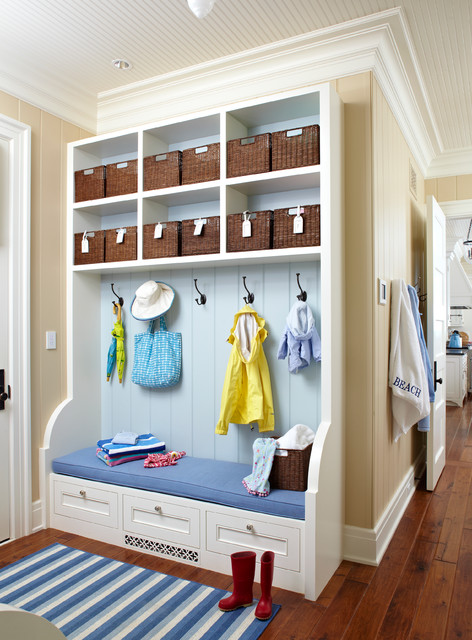 Coat Hanger Stand Entry Beach with Baskets Beadboard Ceiling Bench