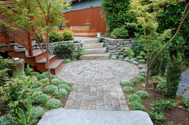 Cobblestone Pavers Landscape Contemporary with Flowers Paver Path Paver