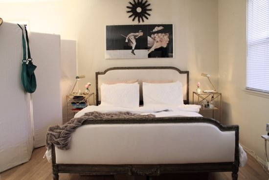 Cocktail Ottoman Bedroom Eclectic with Antique Art Wall Bedroom