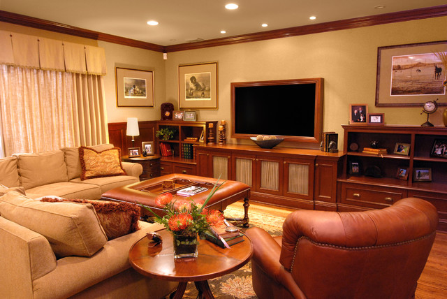 Cocktail Ottoman Home Theater Traditional with Bookcase Bookshelves Ceiling Lighting