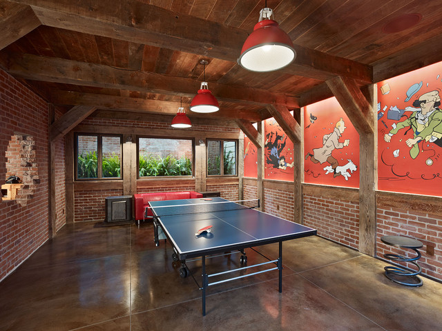 Cody Pools Basement Eclectic with Ping Pong Table Red
