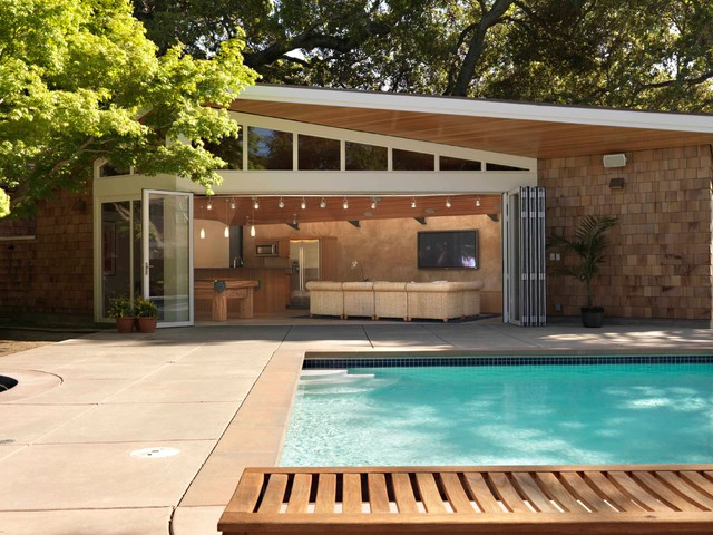 Cody Pools Exterior Midcentury with Clerestory Concrete Paving Folding