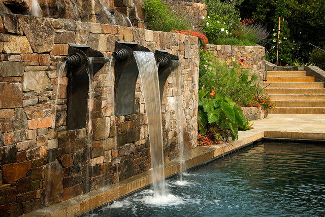Cody Pools Landscape Mediterranean with Artisan Flower Garden Fountain