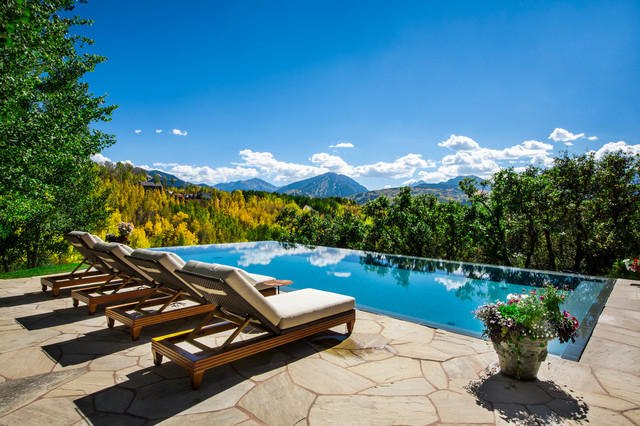 Cody Pools Pool Rustic with Architecture Aspen Beige Cushions