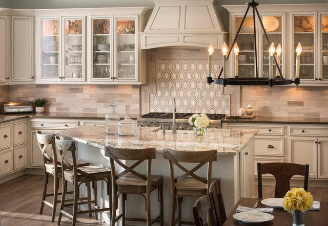 Cold Spring Granite Kitchen Traditional with Beige Kitchen Chandelier Counter