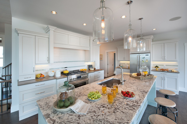 cold spring granite Kitchen Traditional with bell glass pendants colored