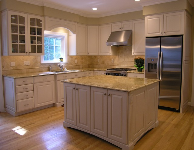colonial cream granite Kitchen Contemporary with Colonial Cream full overlay