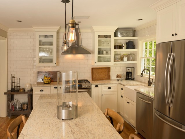 colonial cream granite Kitchen Traditional with cottage cream cabinets Custom