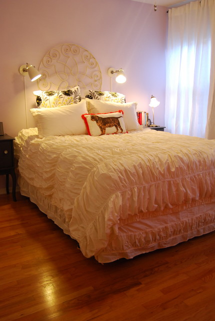 comforters and duvets Bedroom Eclectic with bed pillows curtains decorative