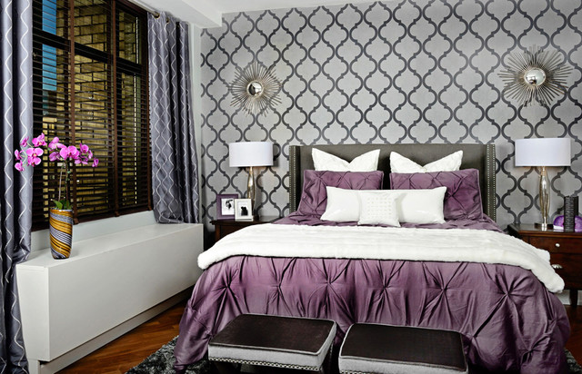 Comforters and Duvets Spaces Transitional with Accent Wall Bedside Table1