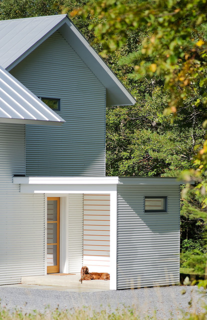 Composite Lumber Entry Farmhouse with Concrete Corrugated Metal Dog