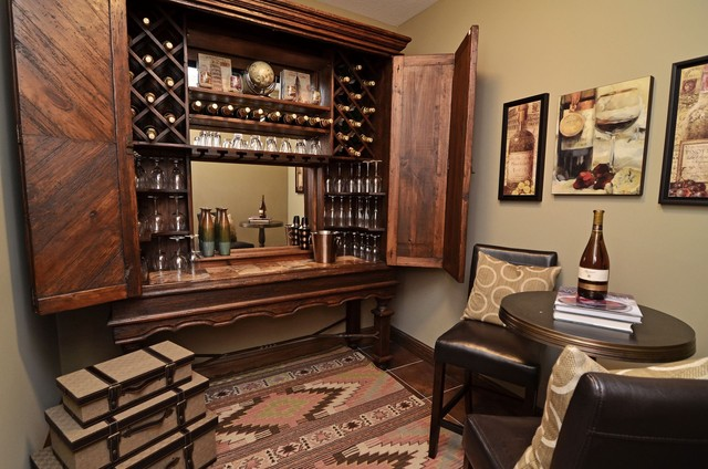 Computer Armoire Wine Cellar Traditional with Beige Cafe Table Dark