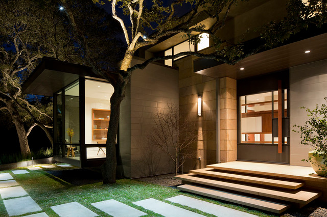 Concrete Stepping Stones Entry Contemporary with Cantilevered Bay Window Concrete
