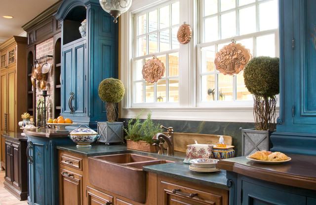 Conestoga Cabinets Kitchen Farmhouse with Apron Sink Blue Cabinets
