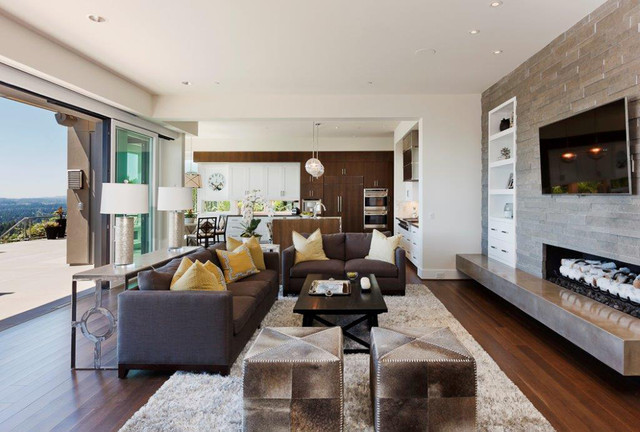 Contract Furnishings Mart Living Room Contemporary with Animal Hide Ottoman Built In