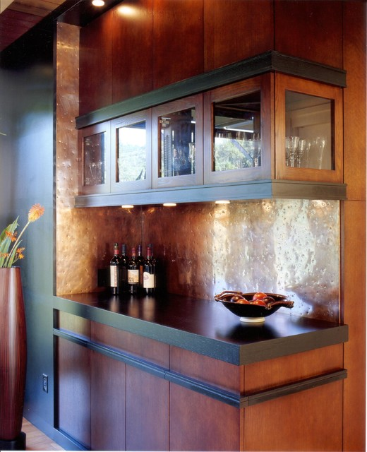Copper Backsplash Home Bar Contemporary with Bar Cabinet Cabinetry Copper