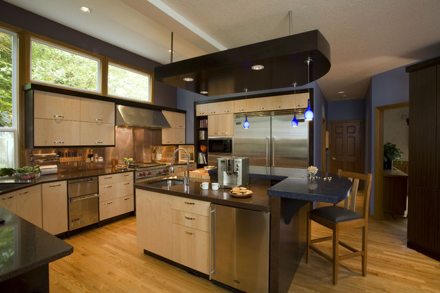 Copper Backsplash Kitchen Contemporary with Breakfast Bar Cambria Countertops