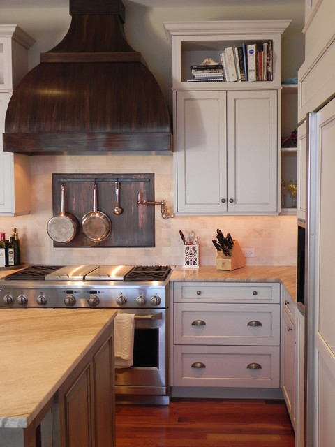 copper backsplash Kitchen Traditional with backsplash beige cabinets beige