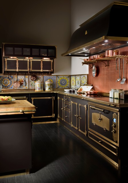 Copper Backsplash Kitchen Victorian with Black Appliances Black Cabinets