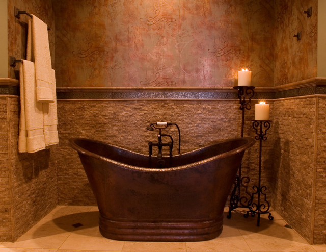 Copper Bathtub Bathroom Contemporary with Beige Stone Floor Beige