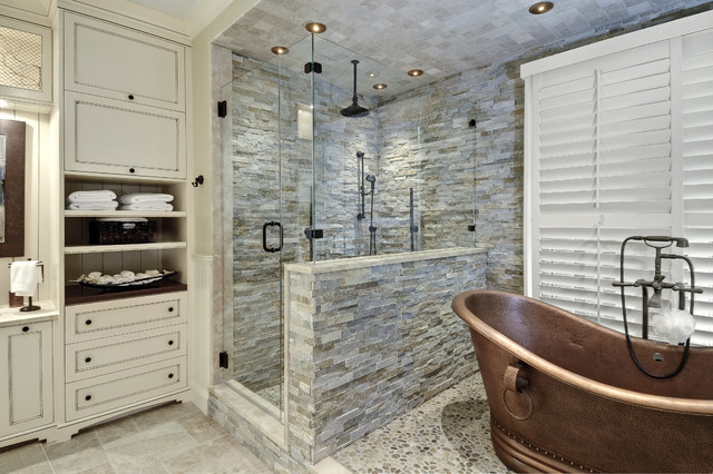 Copper Bathtub Bathroom Traditional with Ceiling Lighting Copper Bathtub1