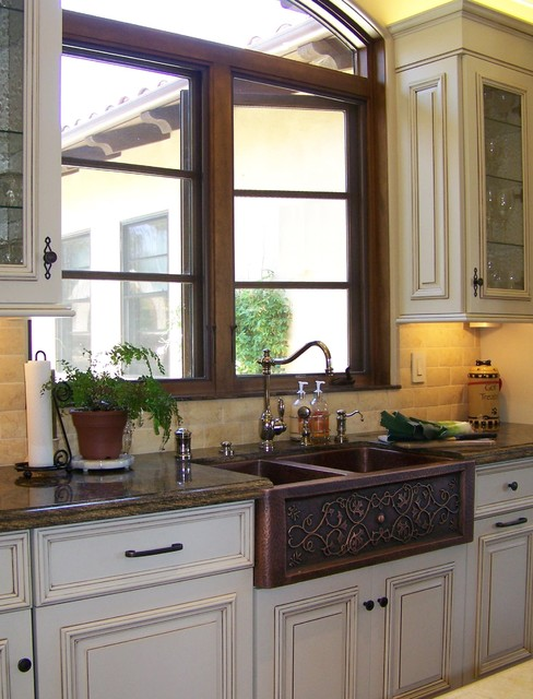 Copper Farmhouse Sink Kitchen Traditional with Apron Sink Casement Windows